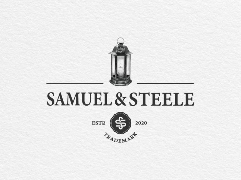 Samuel & Steele vector print lantern illustration branding logo vintage hand drawn
