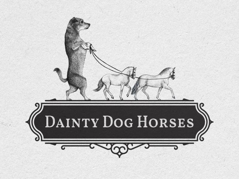 Dainty Dog Horses Logo Design horses dog vintage logo vector hand drawn print illustration