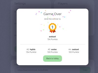 And the winner is overlay endgame winners confetti popup overlay winner teamword