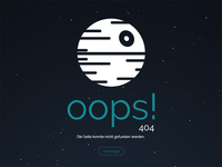 404 Page stars animation death star star wars not found 404