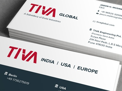 TIVA business card business card visiting card stationery collateral icons graphic design logo tiva identity print logotype red