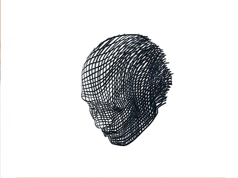 Head procreate ipad drawing man black and white line head