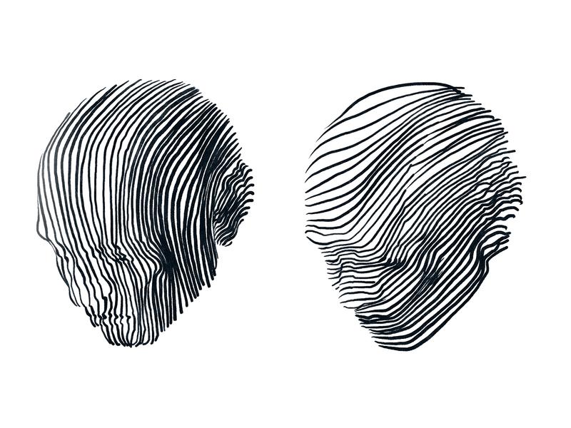He ad sad man black and white procreate ipad line drawing drawing head