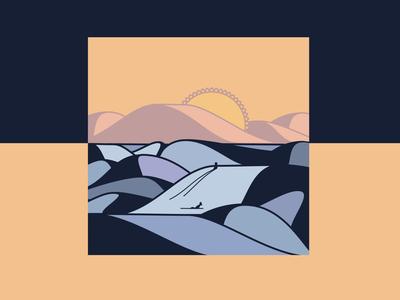 Rocky waves surf sunset shapes vector beach girls waves