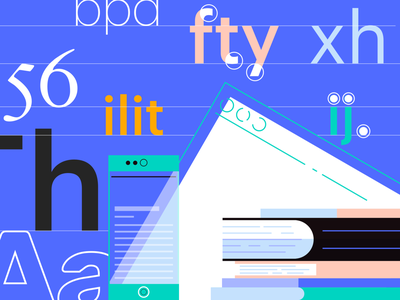 Web Typography Tips vector type article blog typography typo tutorial design illustration