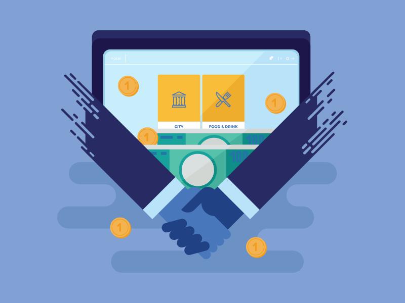 Illustration for promo app vector hands money icon flat illustration