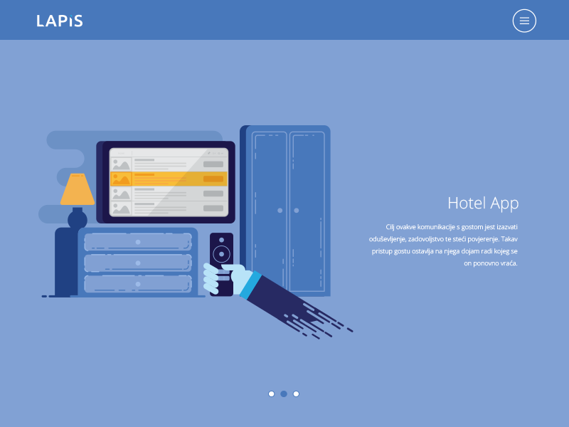 Hotel room blue tv hotel room app web flat illustration vector