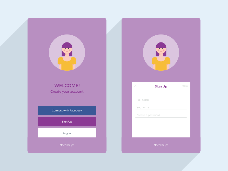 Daily Ui  #001 Sing Up flat illustration ui daily ui app sign up