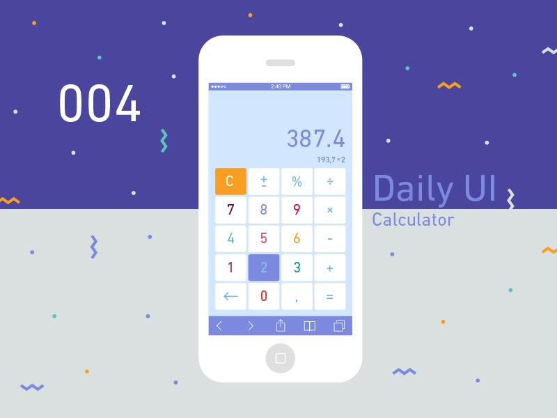Daily Ui #004  flat app calculator daily ui