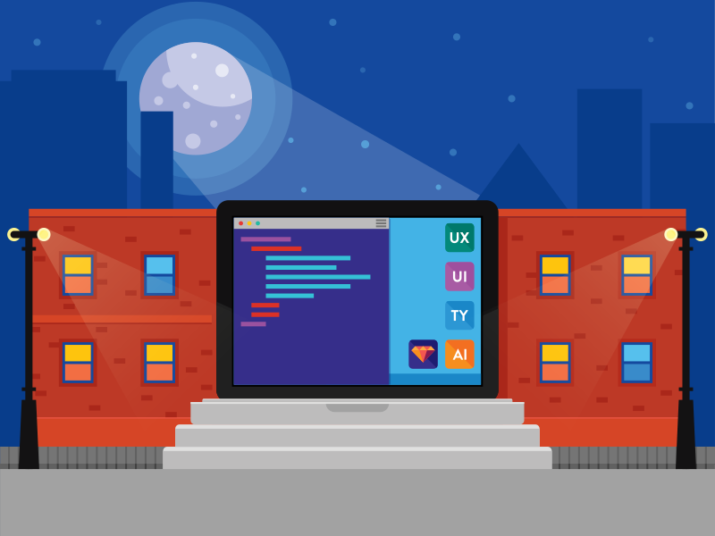 Inspired by learning training code school computer flat illustration