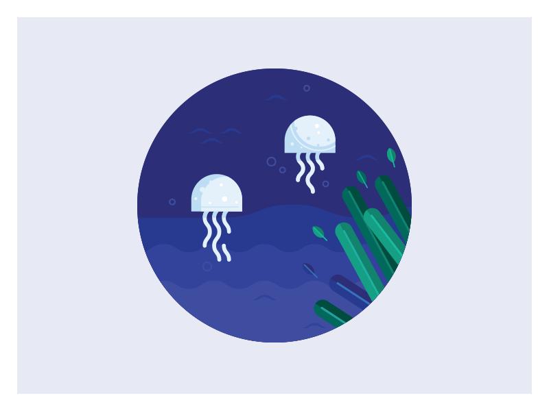 Jellyfish jellyfish flat adobe illustrator illustration