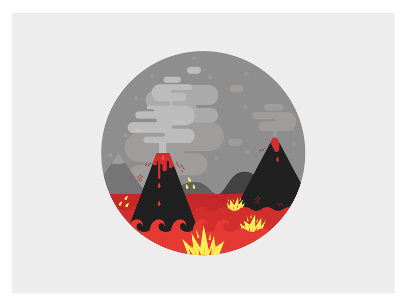Arhaik adobe illustrator illustration flat volcano