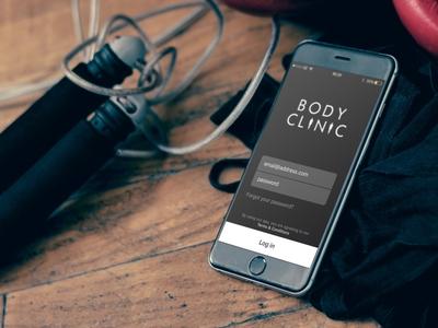 Body Clinic App branding mobile app logo ux ui typography sport fitness