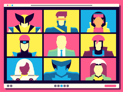 Remote Team Meeting illustration marvel remote zoom 90s limited palette xmen
