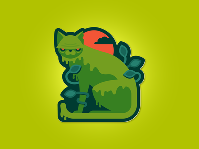 Swamp Cat illustration sticker swamp thing swamp cat
