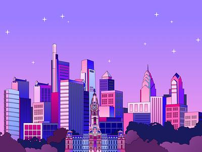 Philly skyline sketch city philadelphia philly cityhall landscape skyline design illustration