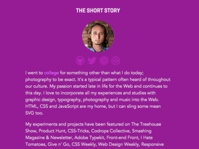 Website Bio svg development web front-end avenir css html layout design typography