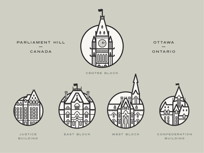 Icons | Parliament Hill Canada ottawa line icons line canada illustrations building icons parliament