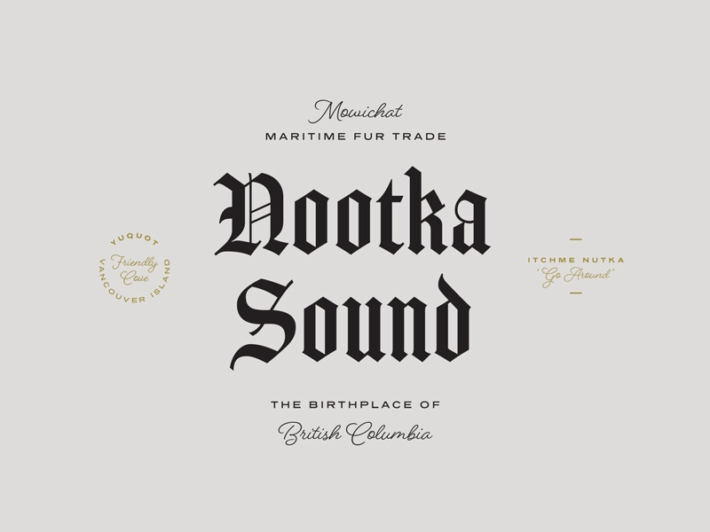 Nootka Sound | British Columbia cover poster lettering black letters typesetting logomark adobe fonts typekit fonts type typography