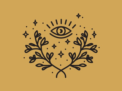 4/5 Sacred Icons illustration third eye moon laurel wreath spiritual logomark logo line artwork line icon iconography icon artwork icon eye celestial brand identity