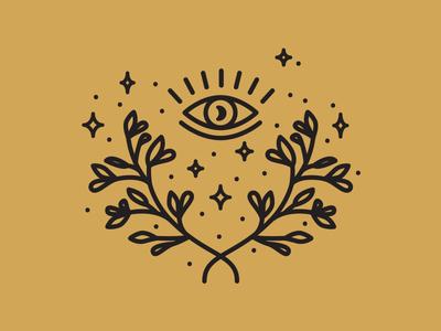 4/5 Sacred Icons illustration third eye moon laurel wreath spiritual logomark logo line artwork line icon iconography icon artwork icon eye celestial brand identity
