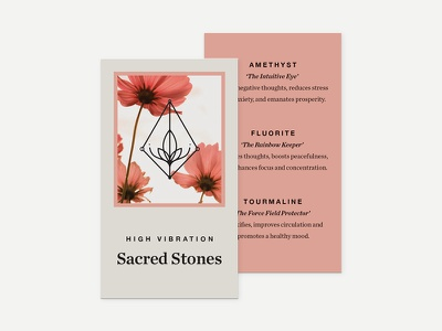 Sacred Stones Hang Tag typography retail holistic label packaging hang tag card healing spiritual stones crystals ecommerce busines card tag design