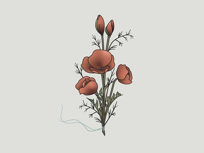 Poppy Bouquet Illustration greenery illustrator branches poppies line art flower illustration floral poppy bouquet gradient flower