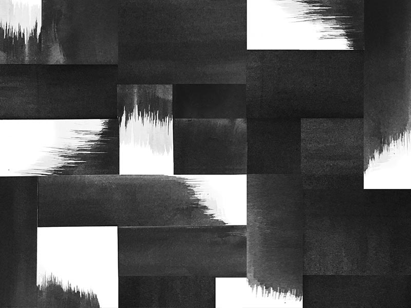 no.061 brushstrokes brush patchwork collage pattern texture watercolor paint white black