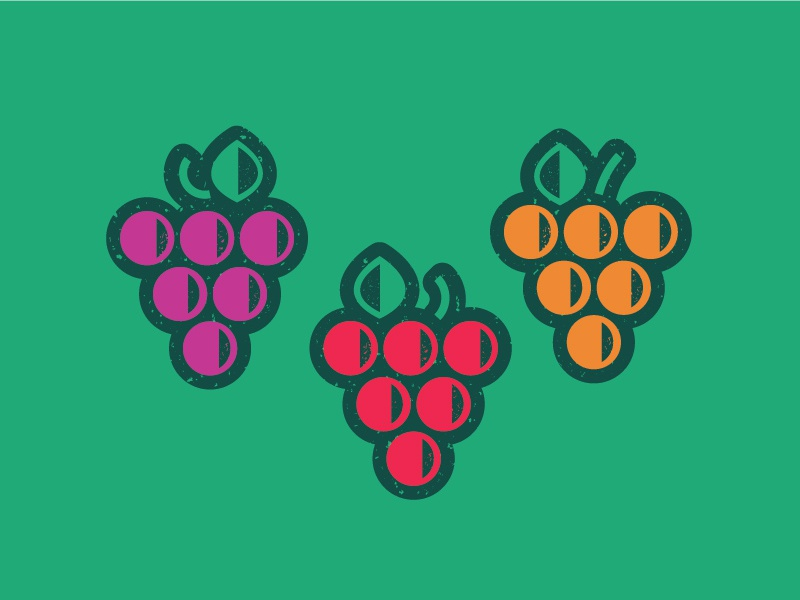 grape color outline texture bold icon purple green red illustraion fruit grapes grape