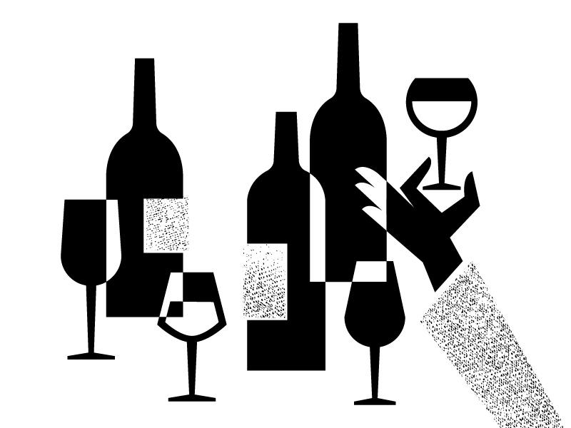Happy Hour texture wine bottles bottle glass hand black illustration retro vintage drink