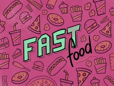 Fast Food fast food drawing green yellow pink food illustration pie soda french fries burger pizza procreate food illustraion
