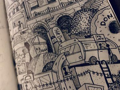 Food Truck Hill city bridge coffee sketchbook ice cream ink illustration black  white food illustration illustraion truck bagels hamburgers hotdog foodie food truck