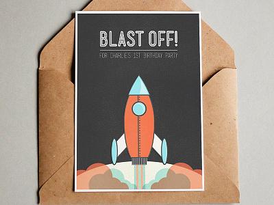 Blast Off! illustration illustrator photoshop nasa space moon rocket birthday invite