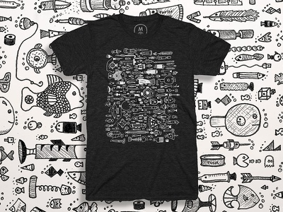 Odd School T-Shirt black and white fish illustration t-shirt