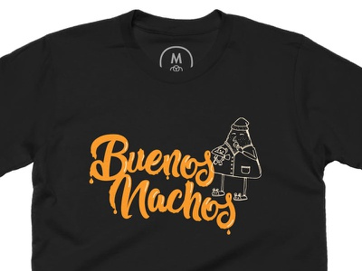 Buenos Nachos T-Shirt cheese black t-shirt drawing food illustration nachos