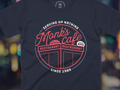 Monk's Cafe nyc costanza george elaine jerry kramer salad branding design vector illustrator photoshop tv 90s cafe logo t-shirt seinfeld