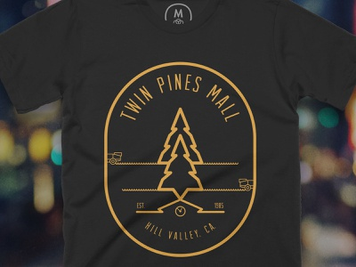 Twin Pines Mall fanart branding logo t-shirt fire pine tree delorean movies black mall pines twin pines mall hill valley doc brown marty mcfly 1980s illustrator photoshop tshirt back to the future