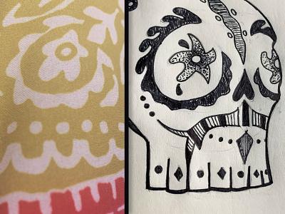 Sugar Skull Illustration skull black and white blanket illustraion mexico dia de los muertos day of the dead sugar skull