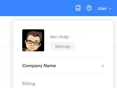 Simple user menu dashboard menu user