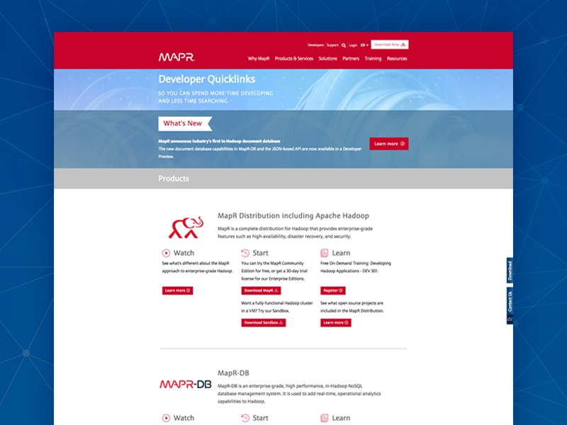 mapr developer quicklinks page design by allie surdovel dribbble