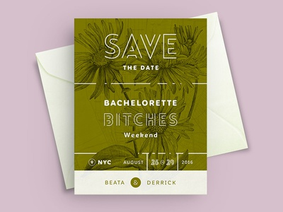 Bachelorette NYC Weekend Save the Date Invite Card!