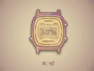 Casio Retro - Badge, Pin retro casio watch badge pin design graphic illustration