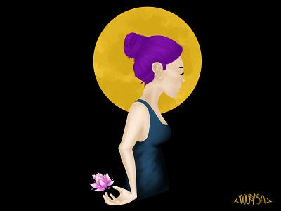 Padma (Digital) mexico purple yellow contemporary frame mockup art flower loto digital painting