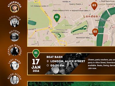 UI date teaser panel dj product search map berlin jägermeister jager green