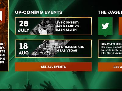 UI events event date teaser social product twitter map berlin jägermeister jager green