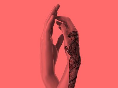 Auguste Rodin branding illustration colorful design red sculpture art 3d hand