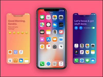 Idea Concept - Moodboard: Intelligent Homescreens colorful product moodboard iphone desktop ios design app animation figma prototype ux ui homescreen apple app