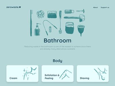 zerowaste.love illustration figma product colorful ui design minimalist zero icon search navigation website styleguide guide sustainability zero waste typo logo