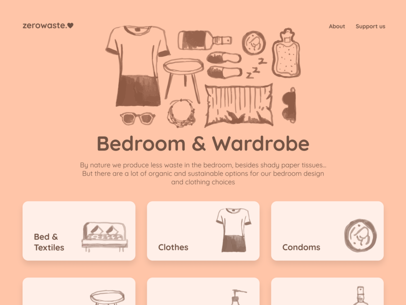 zerowaste.love - Bedroom & Wardrobe logo typo zero waste sustainability guide styleguide ipad ipad app website navigation search icon waste zero minimalist design ui colorful product figma