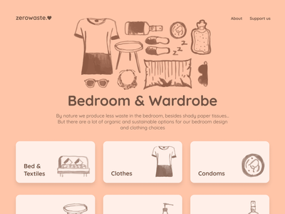 zerowaste.love - Bedroom & Wardrobe logo typo zero waste sustainability guide styleguide ipad ipad app website navigation search icon waste zero minimalist design ui colorful product figma